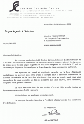 Lettre scc chasse